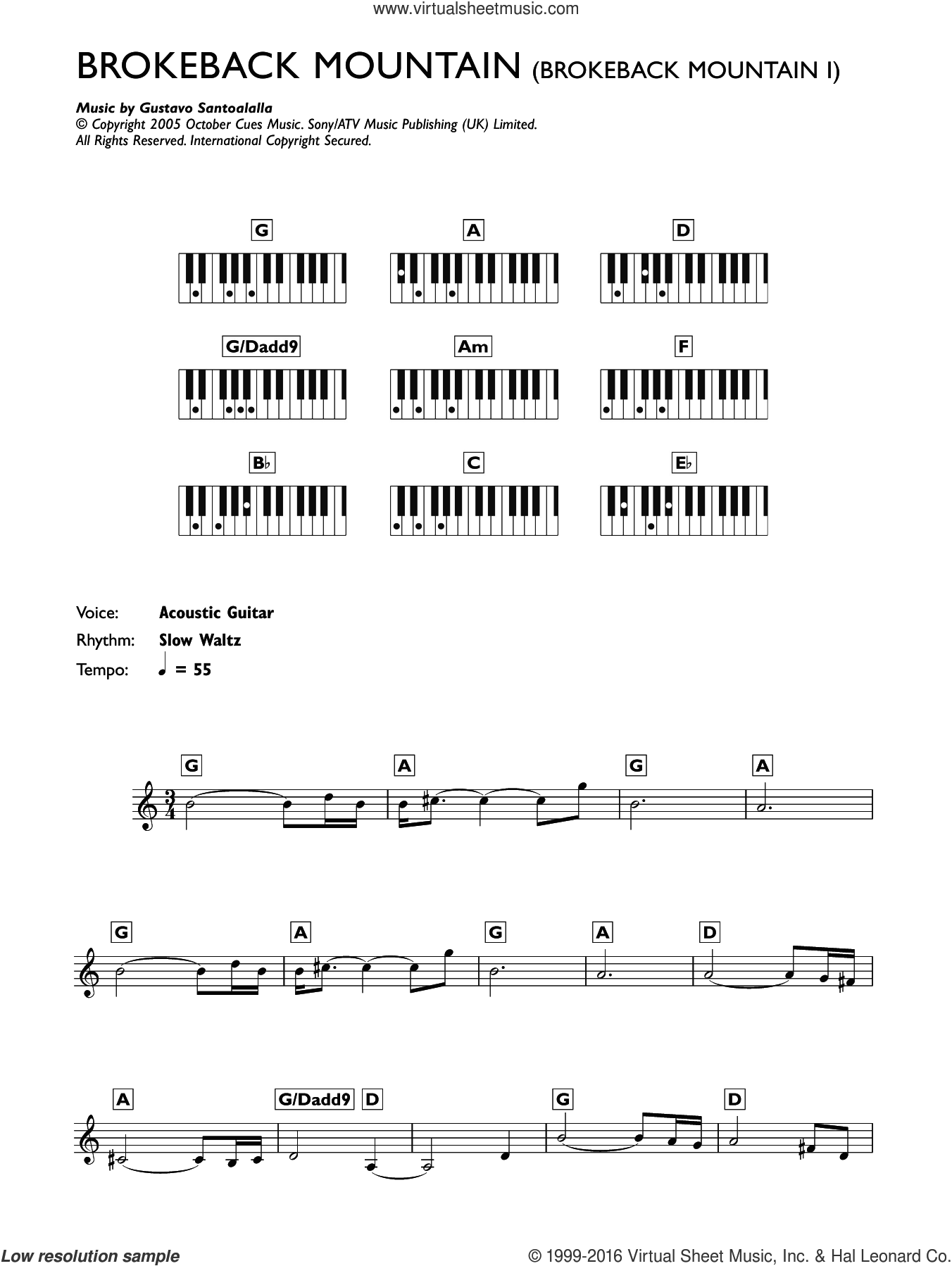 Theme from Brokeback Mountain sheet music for piano solo (chords, lyrics, melody) by Gustavo Santaolalla, intermediate piano (chords, lyrics, melody)
