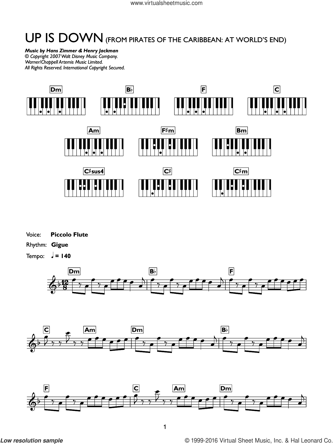 Up Is Down (from Pirates Of The Caribbean: At World's End) sheet music for piano solo (chords, lyrics, melody) by Hans Zimmer and Henry Jackman. Score Image Preview.