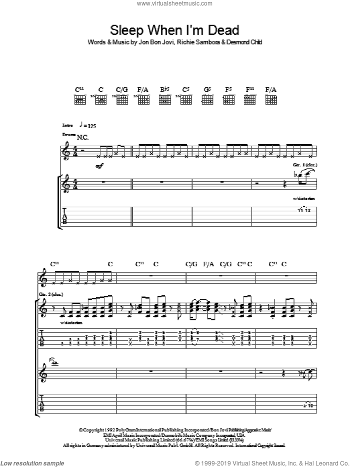 I'll Sleep When I'm Dead sheet music for guitar (tablature) by Desmond Child, Bon Jovi and Richie Sambora. Score Image Preview.