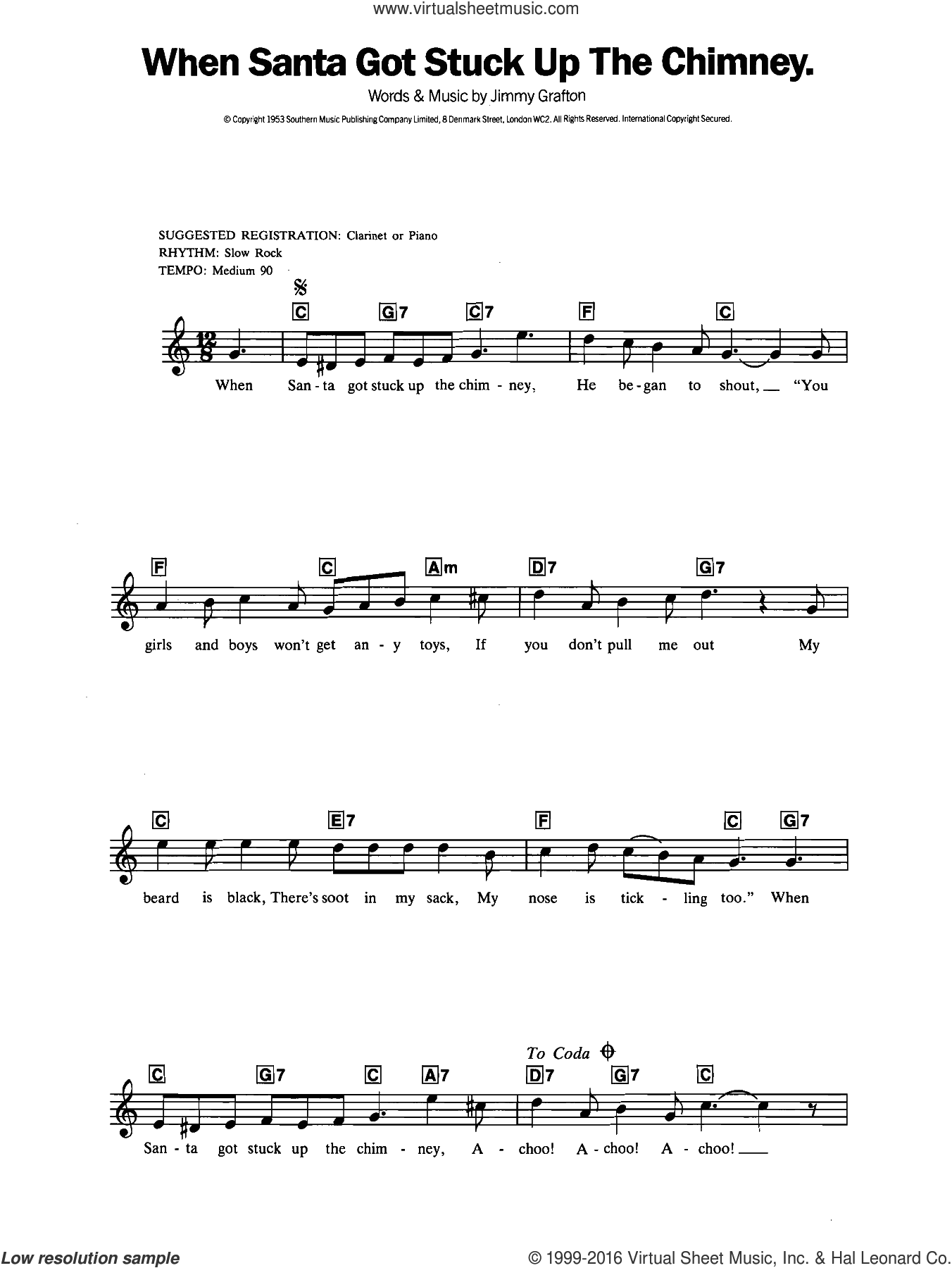 When Santa Got Stuck Up The Chimney sheet music for piano solo (chords, lyrics, melody) by Jimmy Grafton, intermediate piano (chords, lyrics, melody)
