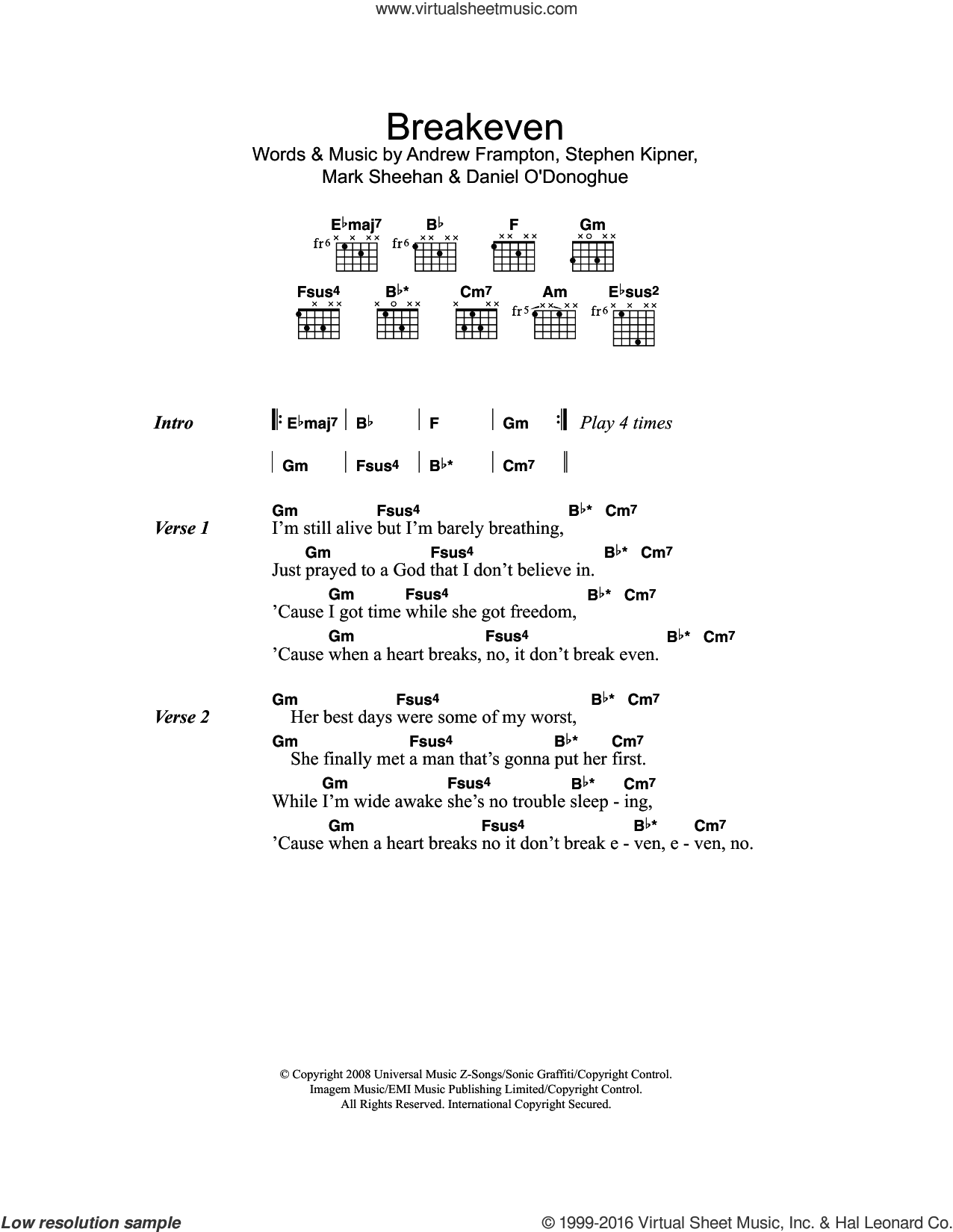 Breakeven sheet music for guitar (chords) by The Script, Andrew Frampton, Mark Sheehan and Steve Kipner, intermediate skill level