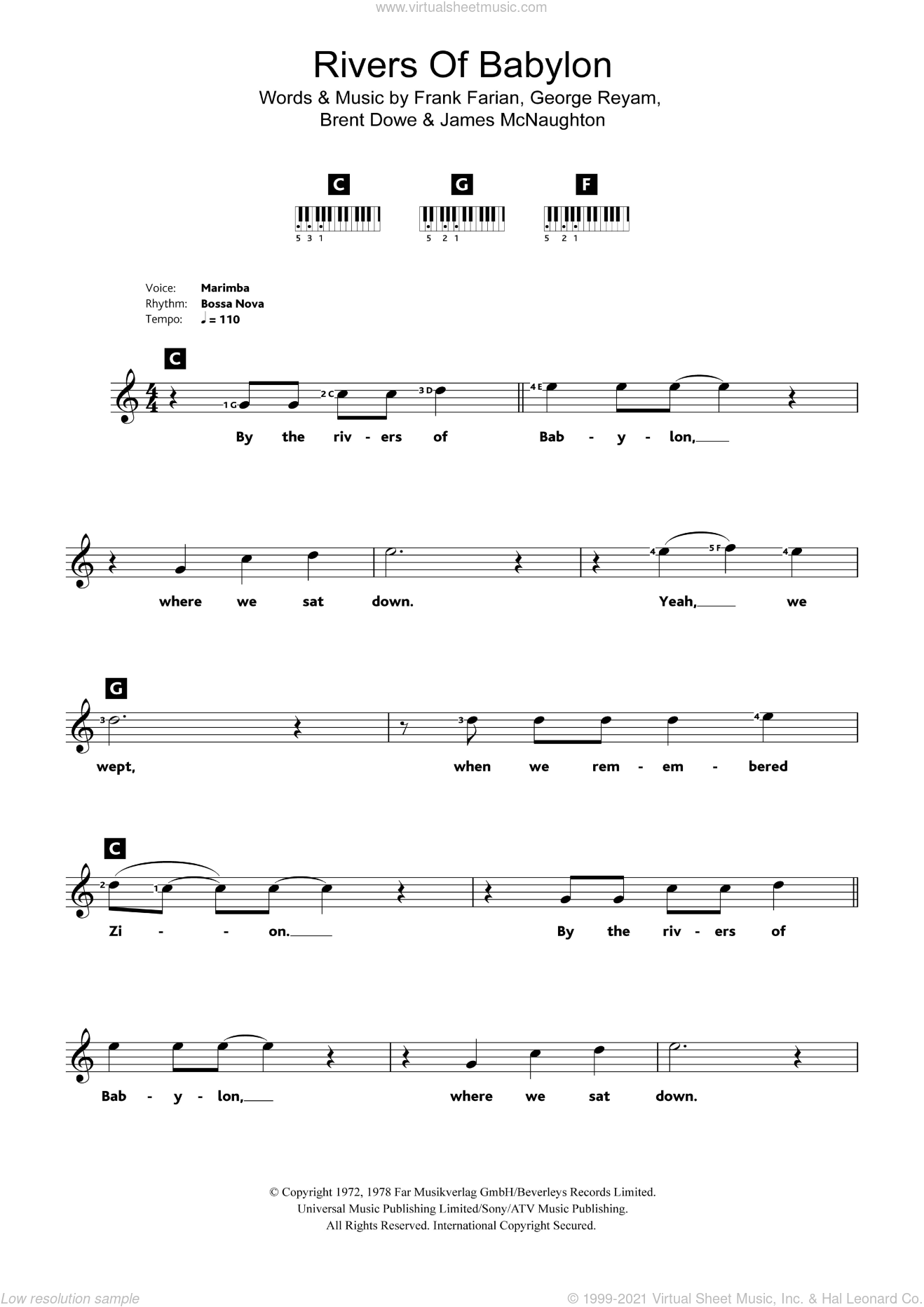 Rivers Of Babylon sheet music for piano solo (chords, lyrics, melody) by Boney M., Brent Dowe, Frank Farian, George Reyam and James McNaughton, intermediate piano (chords, lyrics, melody)