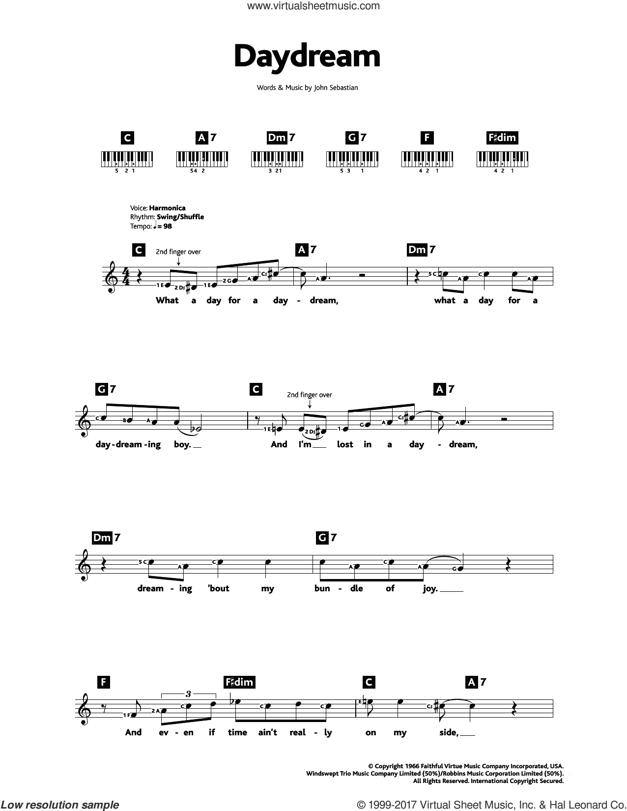 Daydream sheet music for piano solo (chords, lyrics, melody) by The Lovin' Spoonful and John Sebastian, intermediate piano (chords, lyrics, melody)