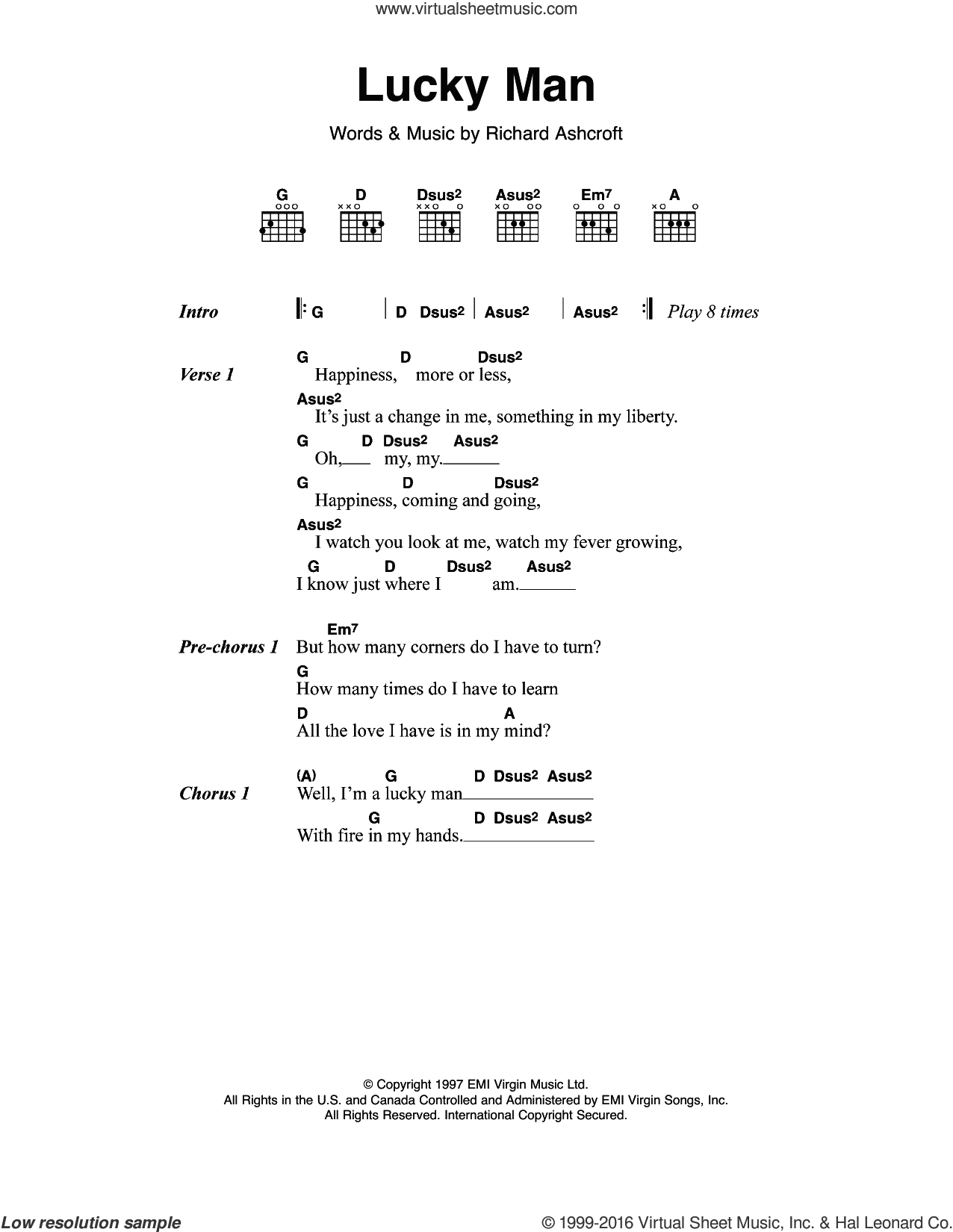 Lucky Man sheet music for guitar (chords) by The Verve and Richard Ashcroft, intermediate skill level