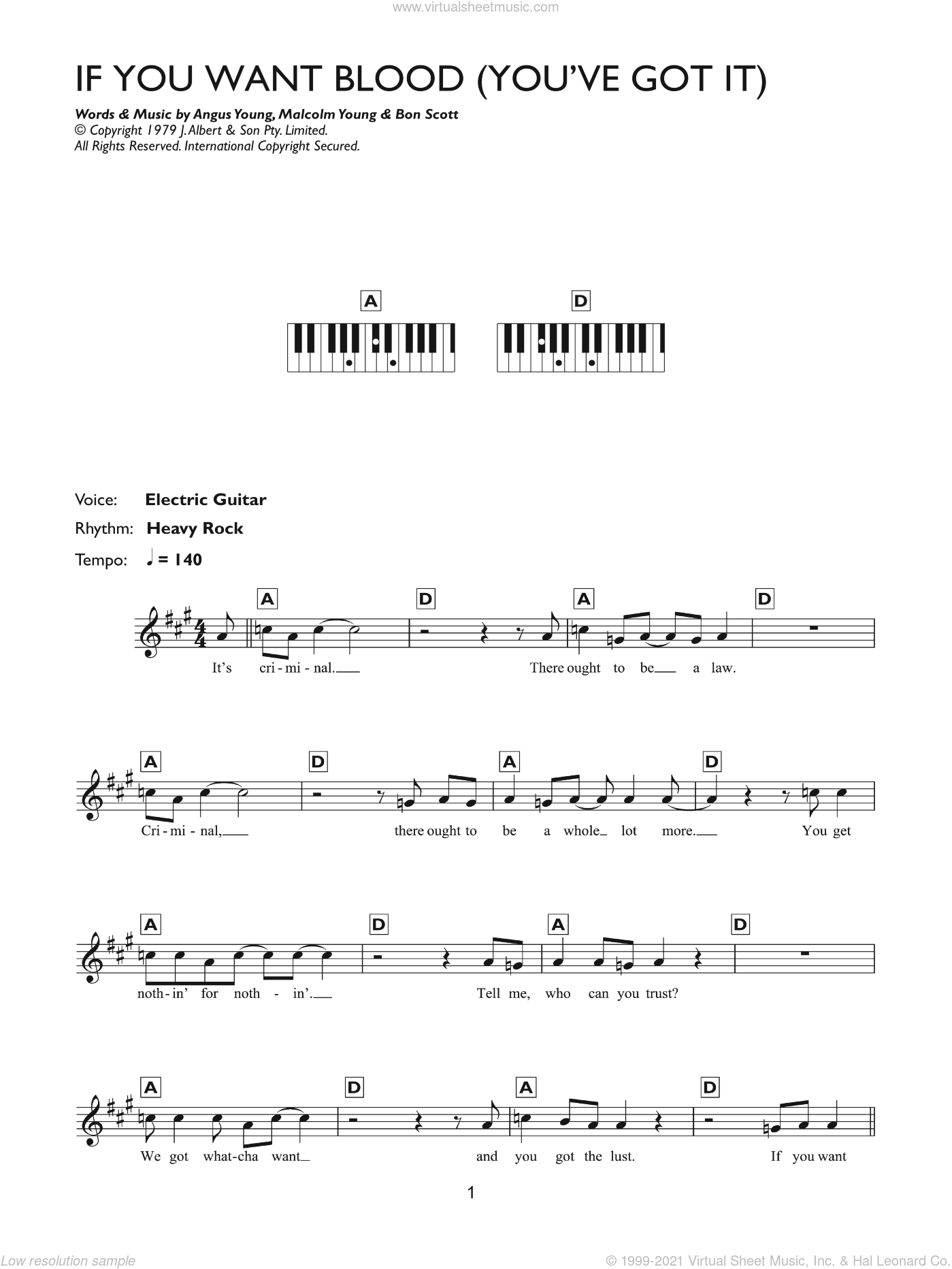 If You Want Blood (You've Got It) sheet music for piano solo (chords, lyrics, melody) by AC/DC, intermediate piano (chords, lyrics, melody). Score Image Preview.