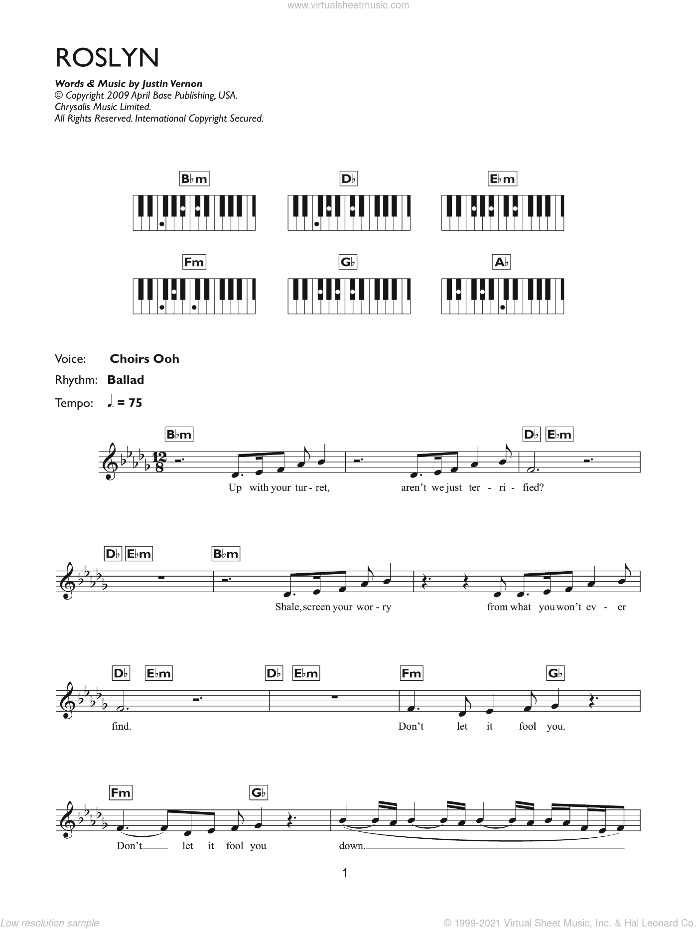 Roslyn sheet music for piano solo (chords, lyrics, melody) by Bon Iver, St. Vincent and Justin Vernon, intermediate piano (chords, lyrics, melody)