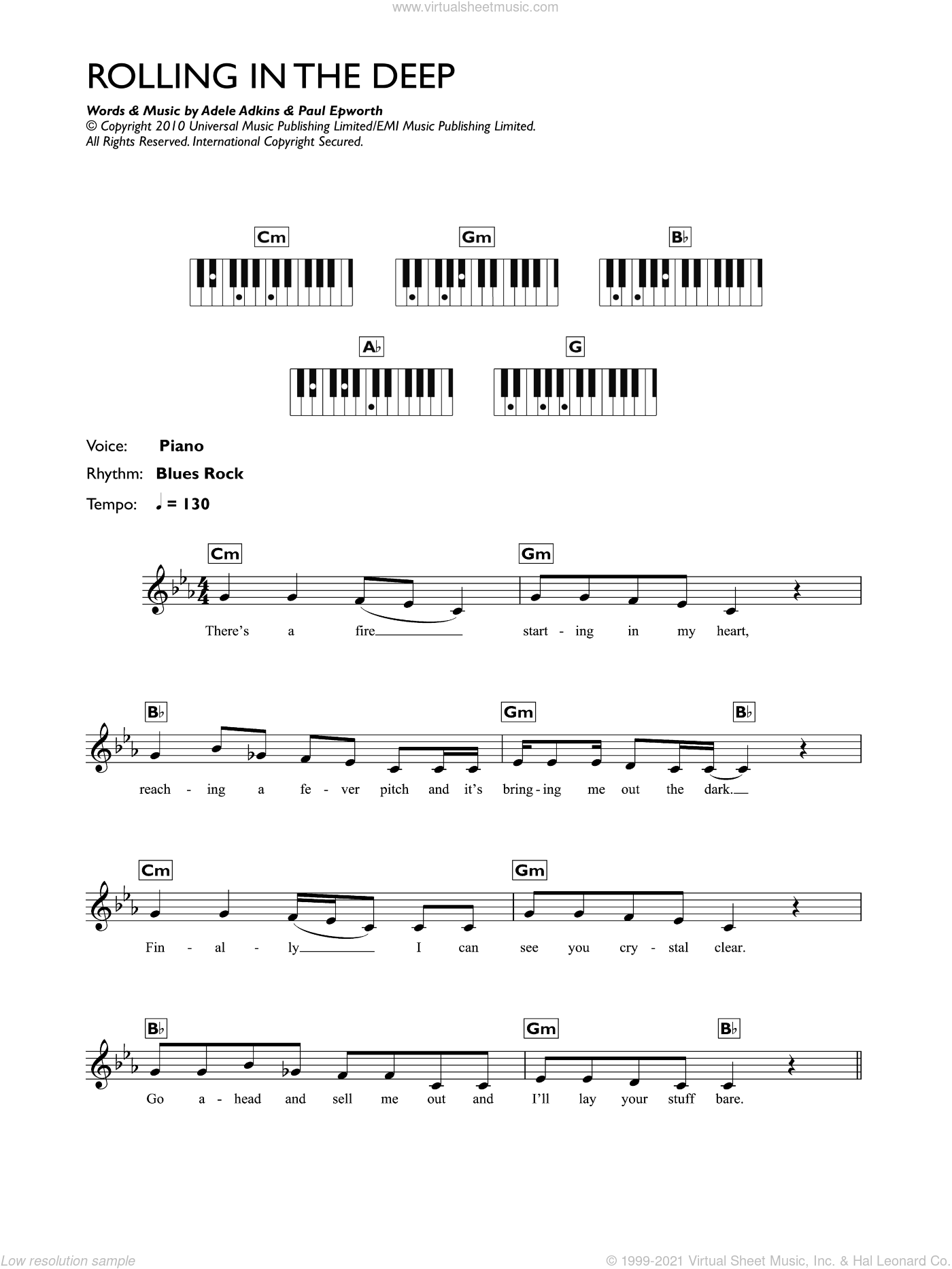 Rolling In The Deep sheet music for piano solo (chords, lyrics, melody) by Paul Epworth