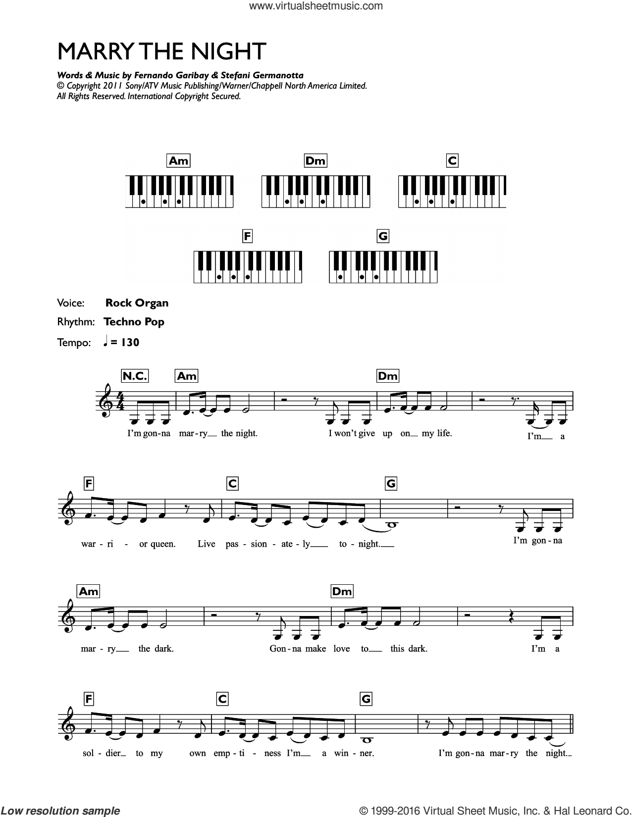 Gaga Marry The Night Sheet Music Intermediate For Piano Solo