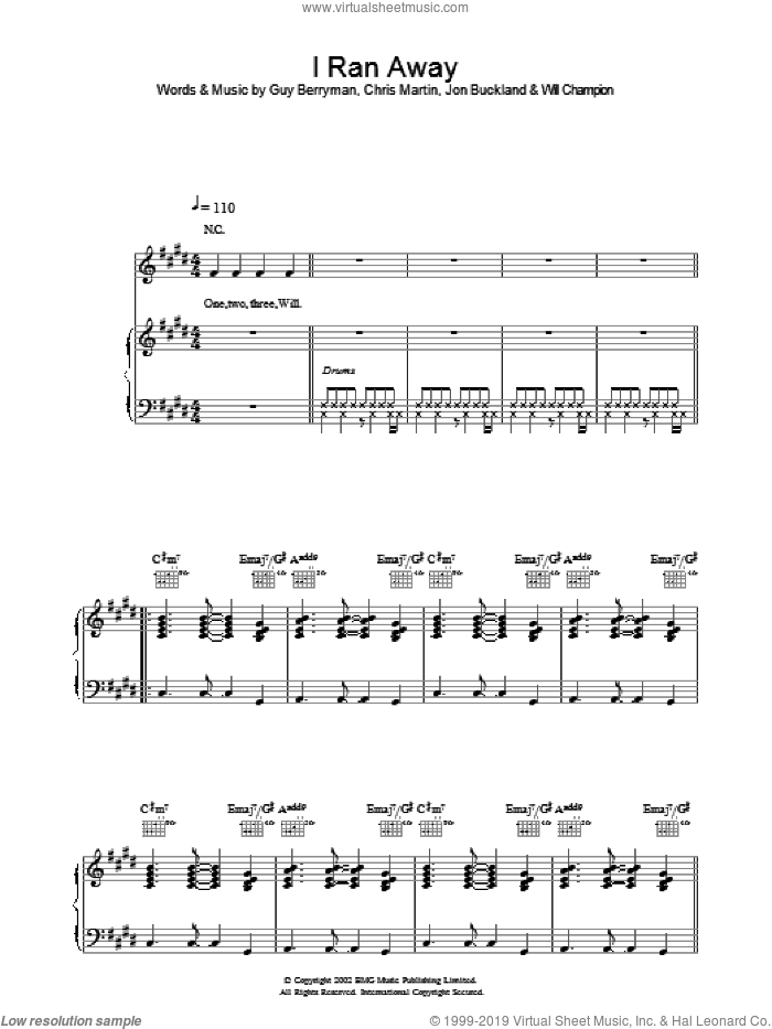 I Ran Away sheet music for voice, piano or guitar by Coldplay, intermediate voice, piano or guitar. Score Image Preview.
