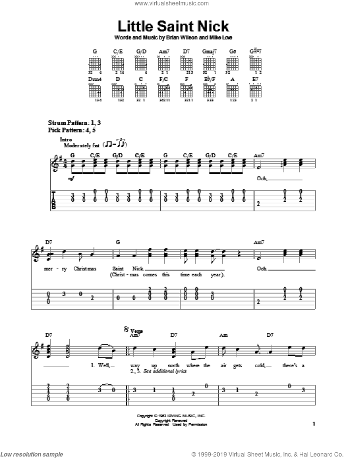 Little Saint Nick sheet music for guitar solo (chords) by Mike Love, The Beach Boys and Brian Wilson. Score Image Preview.