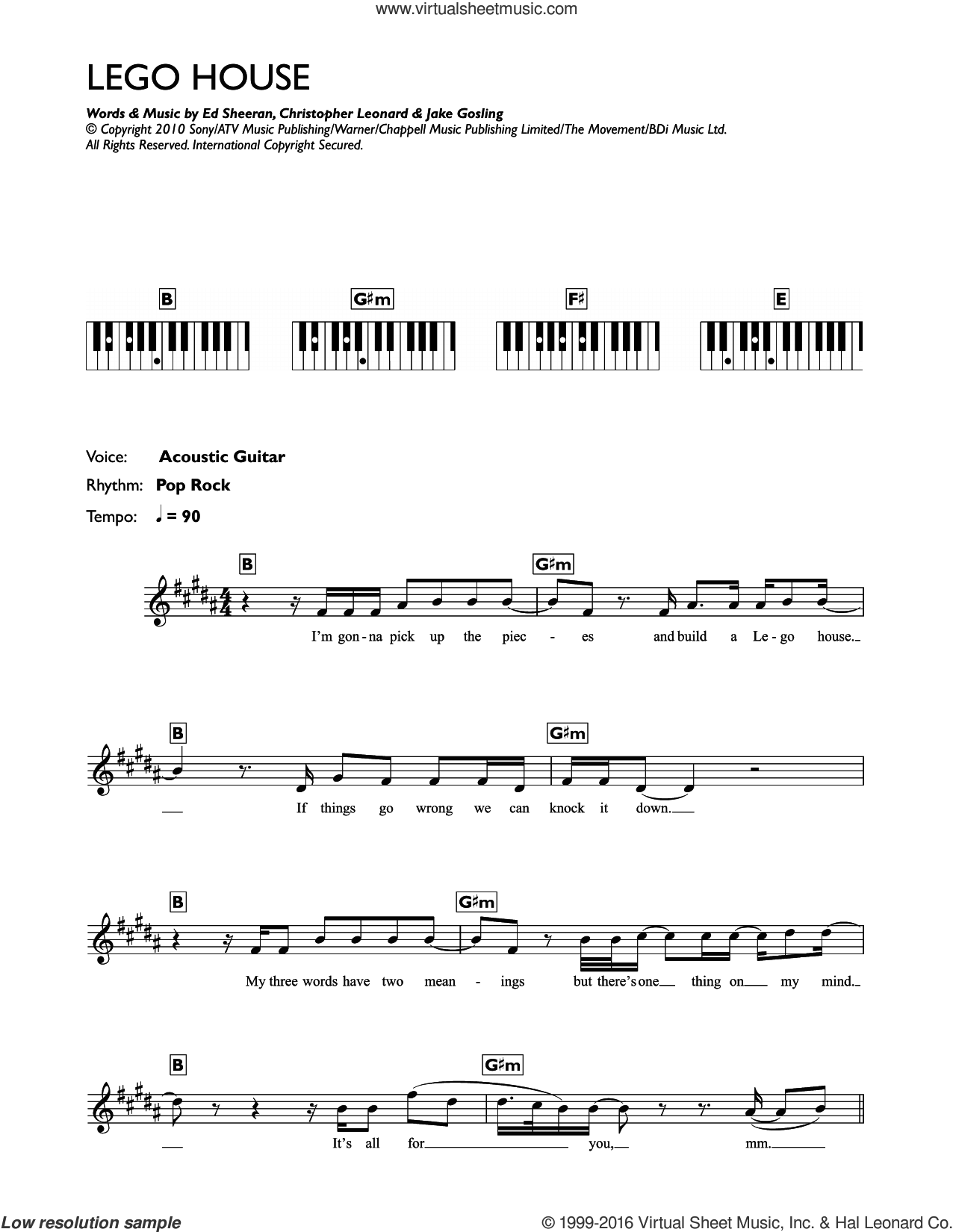 Lego House sheet music for piano solo (chords, lyrics, melody) by Ed Sheeran. Score Image Preview.