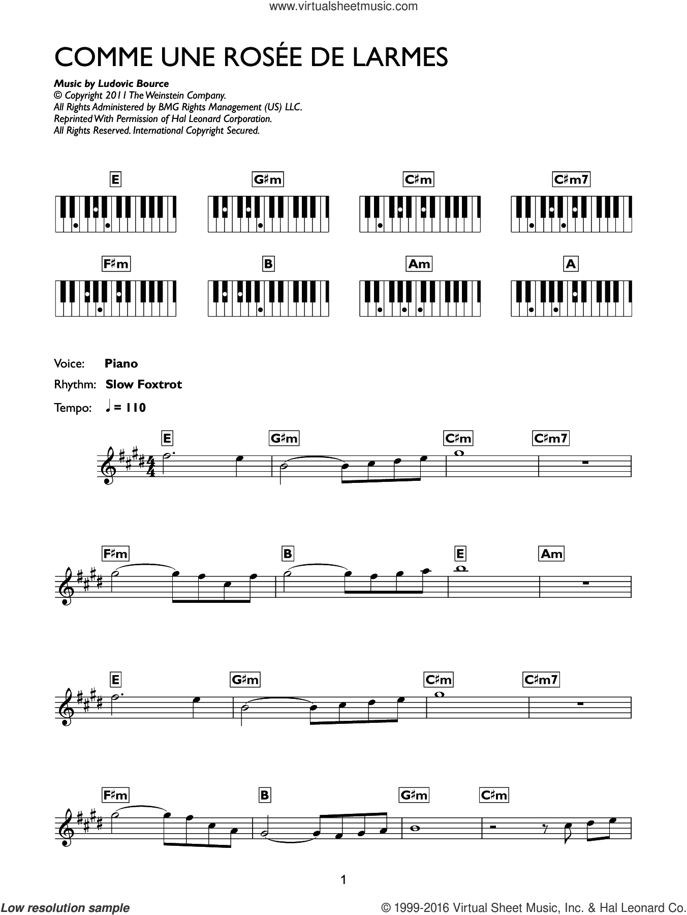 Comme Une Rosee De Larmes (from The Artist) sheet music for piano solo (chords, lyrics, melody) by Ludovic Bource, intermediate piano (chords, lyrics, melody)