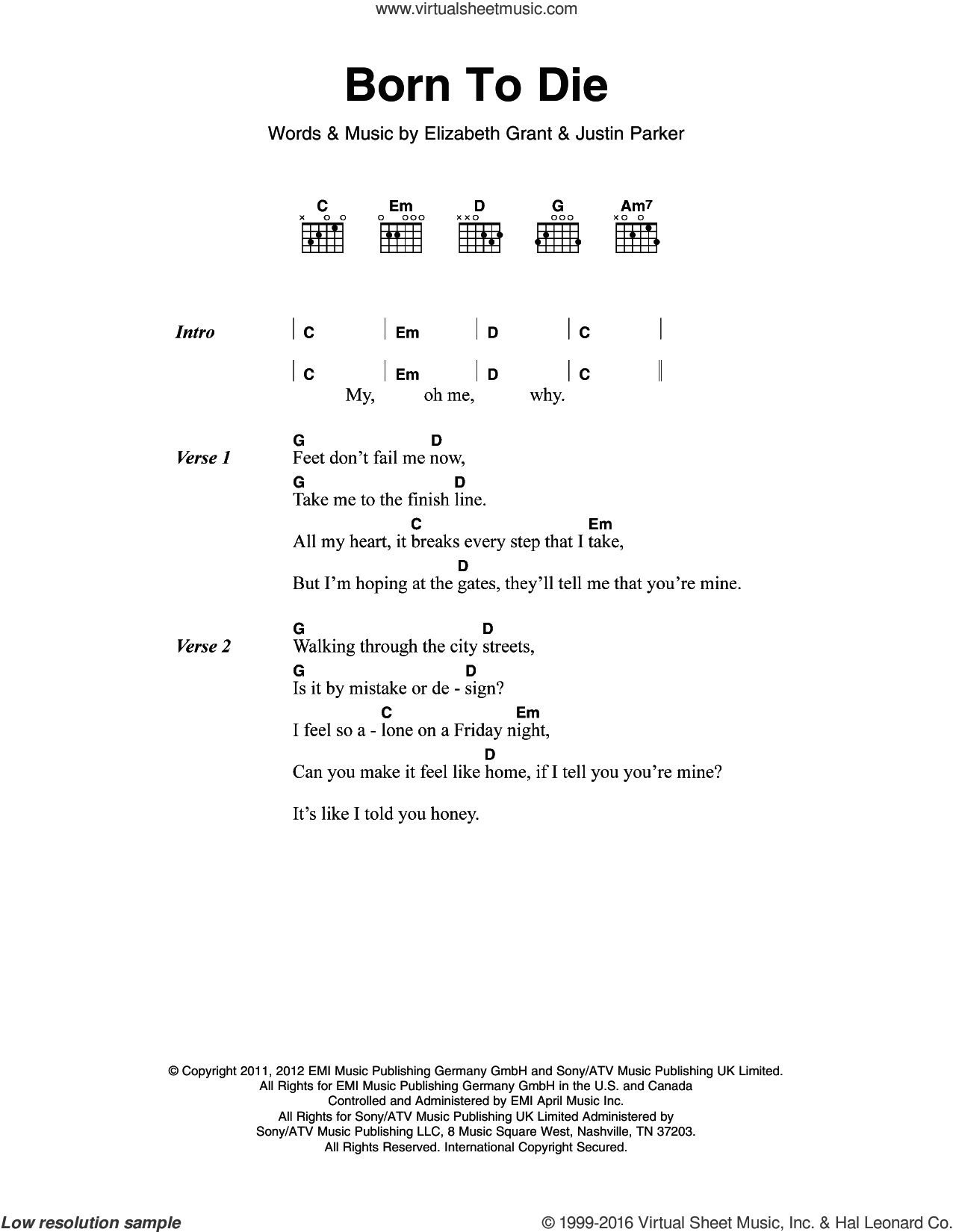 Born To Die sheet music for guitar (chords) by Justin Parker, Lana Del Rey and Elizabeth Grant. Score Image Preview.