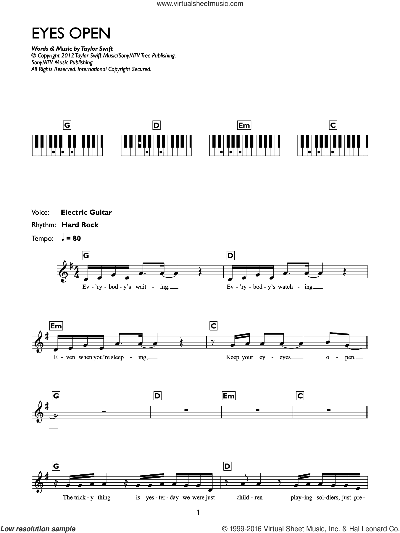 Eyes Open sheet music for piano solo (chords, lyrics, melody) by Taylor Swift. Score Image Preview.