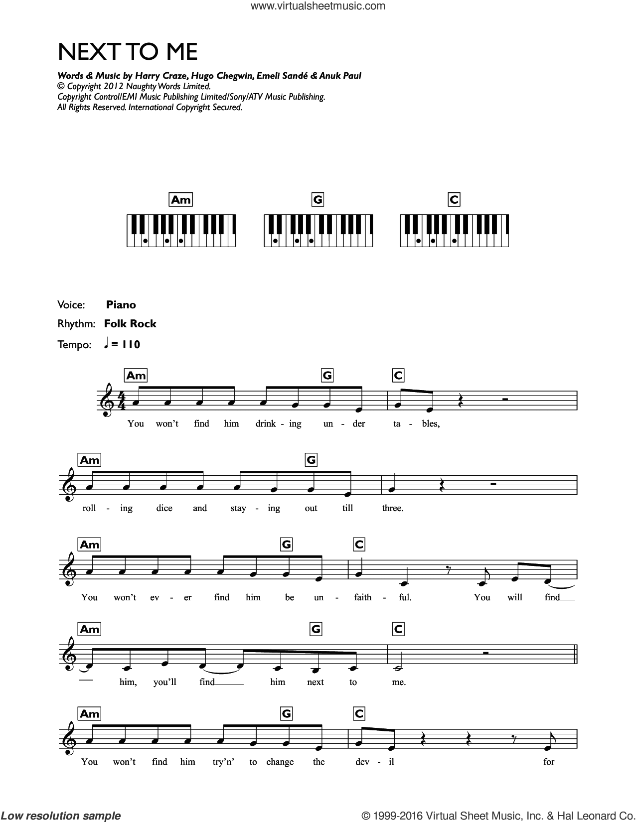 Next To Me (Next To You) sheet music for piano solo (chords, lyrics, melody) by Emeli Sande, Anup Kumar Paul, Harry Craze and Hugo Chegwin, intermediate piano (chords, lyrics, melody)