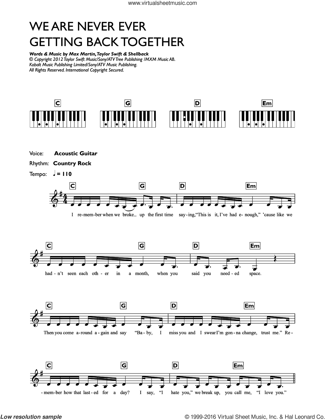 We Are Never Ever Getting Back Together sheet music for piano solo (chords, lyrics, melody) by Taylor Swift, Max Martin and Shellback, intermediate piano (chords, lyrics, melody)