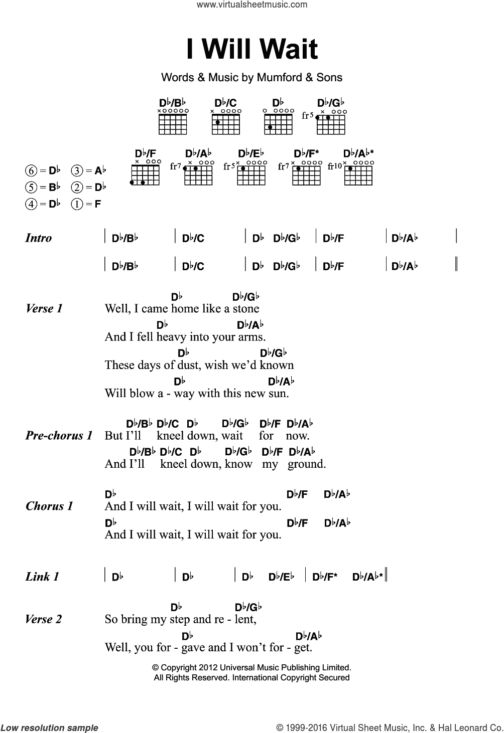 I Will Wait sheet music for guitar (chords) by Marcus Mumford and Mumford & Sons. Score Image Preview.
