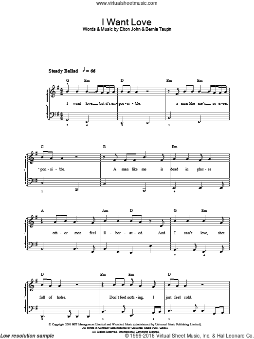 I Want Love sheet music for voice, piano or guitar by Bernie Taupin and Elton John. Score Image Preview.