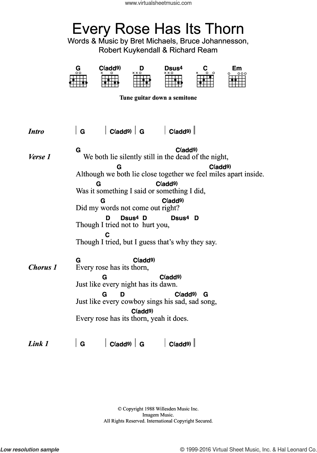 Every Rose Has Its Thorn sheet music for guitar (chords) by Poison, Bret Michaels, Bruce Anthony Johannesson, Richard Ream and Robert Kuykendall, intermediate