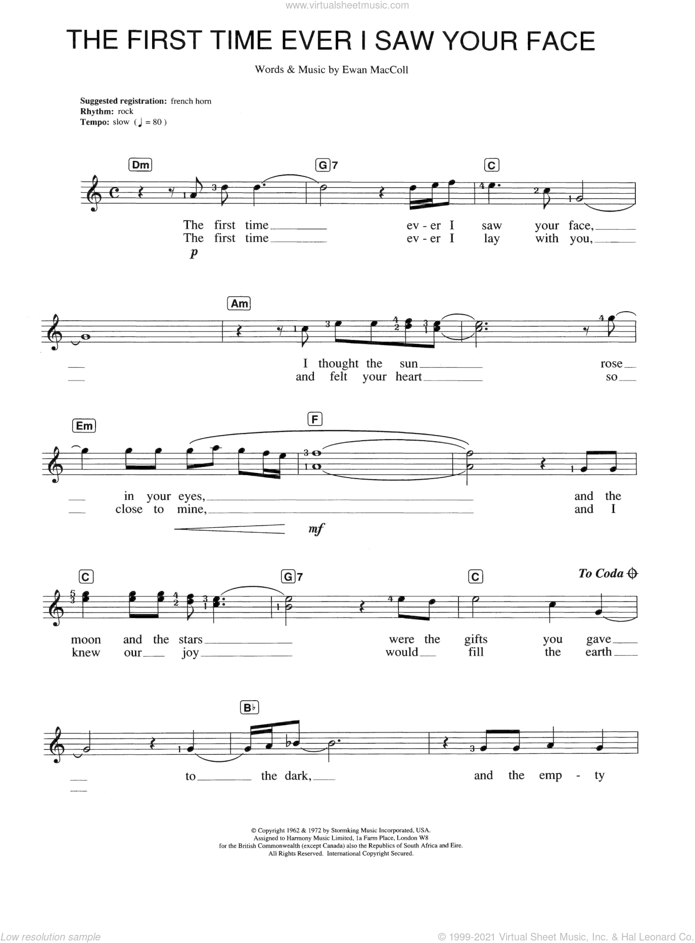 The First Time Ever I Saw Your Face sheet music for piano solo (chords, lyrics, melody) by Ewan MacColl, Alison Moyet and Johnny Mathis. Score Image Preview.