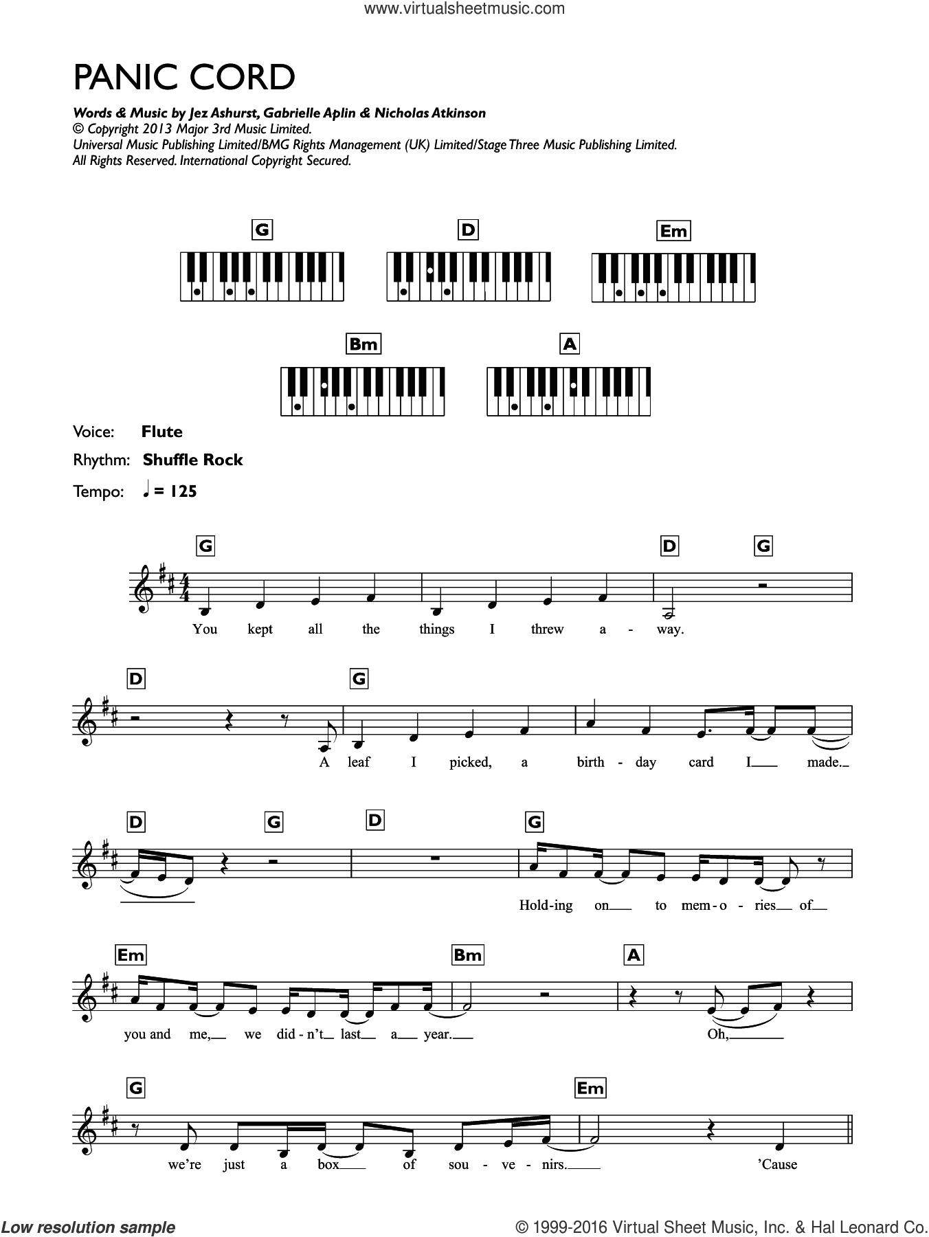 Panic Cord sheet music for piano solo (chords, lyrics, melody) by Gabrielle Aplin, intermediate piano (chords, lyrics, melody). Score Image Preview.