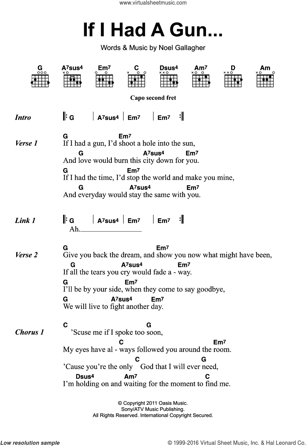 Birds If I Had A Gun Sheet Music For Guitar Chords V2