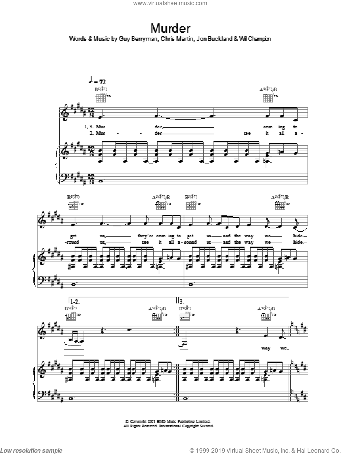 Murder sheet music for voice, piano or guitar by Coldplay, Chris Martin, Guy Berryman, Jon Buckland and Will Champion, intermediate. Score Image Preview.