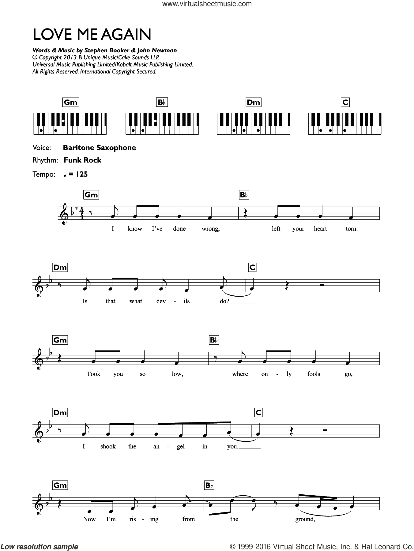 Love Me Again sheet music for piano solo (chords, lyrics, melody) by John Newman and Steve Booker, intermediate piano (chords, lyrics, melody). Score Image Preview.