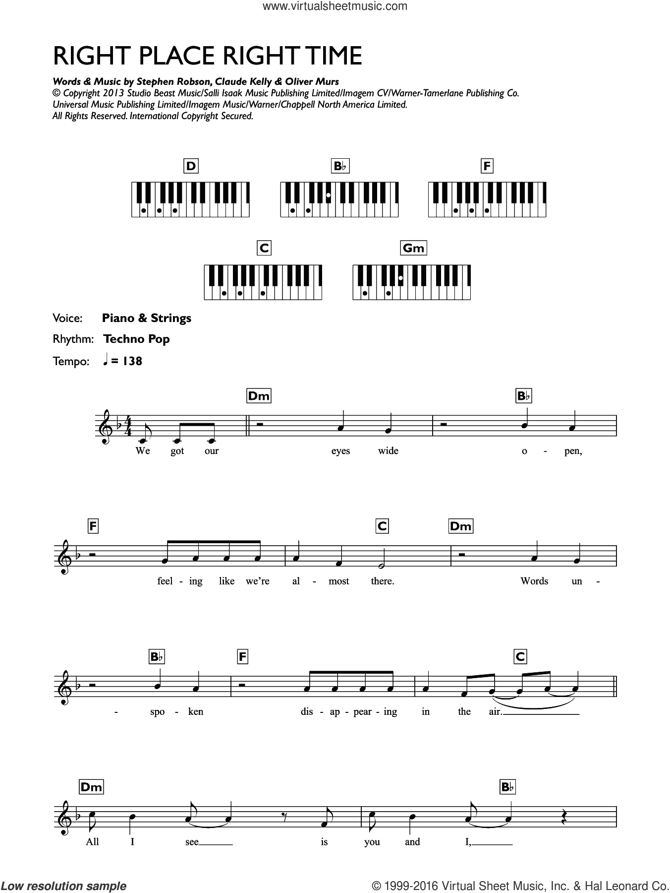 Right Place Right Time sheet music for piano solo (chords, lyrics, melody) by Steve Robson, Claude Kelly and Oliver Murs. Score Image Preview.