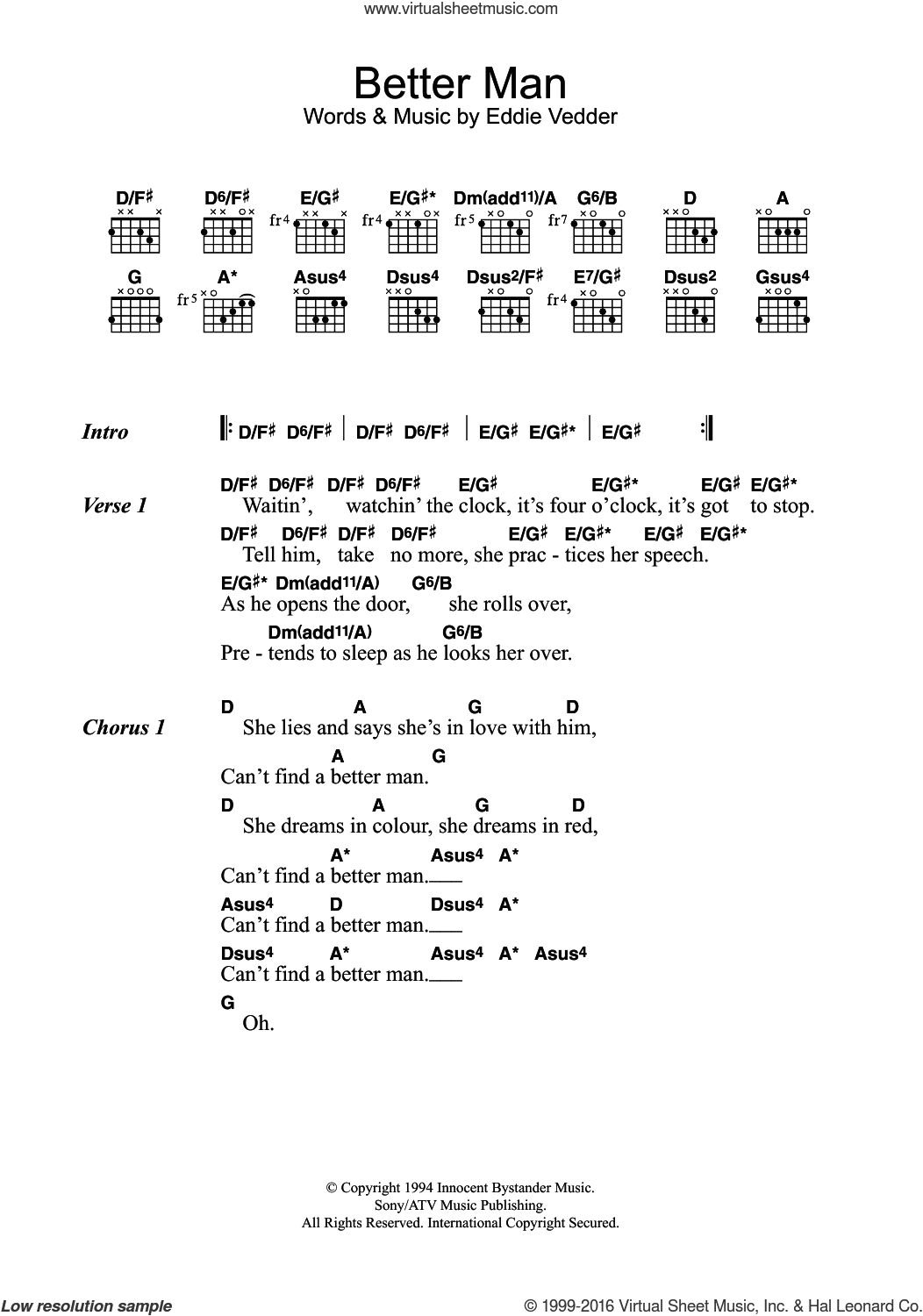 Jam better man sheet music for guitar chords better man sheet music for guitar chords by pearl jam and eddie vedder hexwebz Choice Image