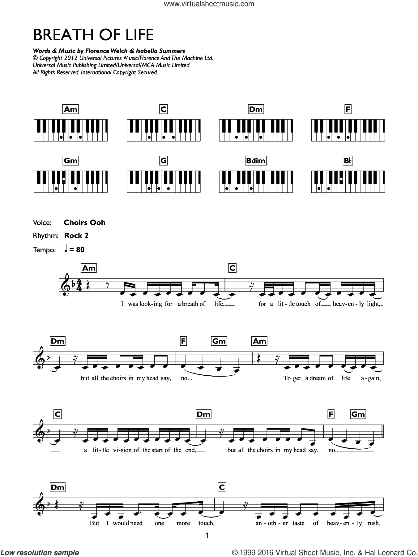Breathe Of Life sheet music for piano solo (chords, lyrics, melody) by Isabella Summers and Florence Welch. Score Image Preview.