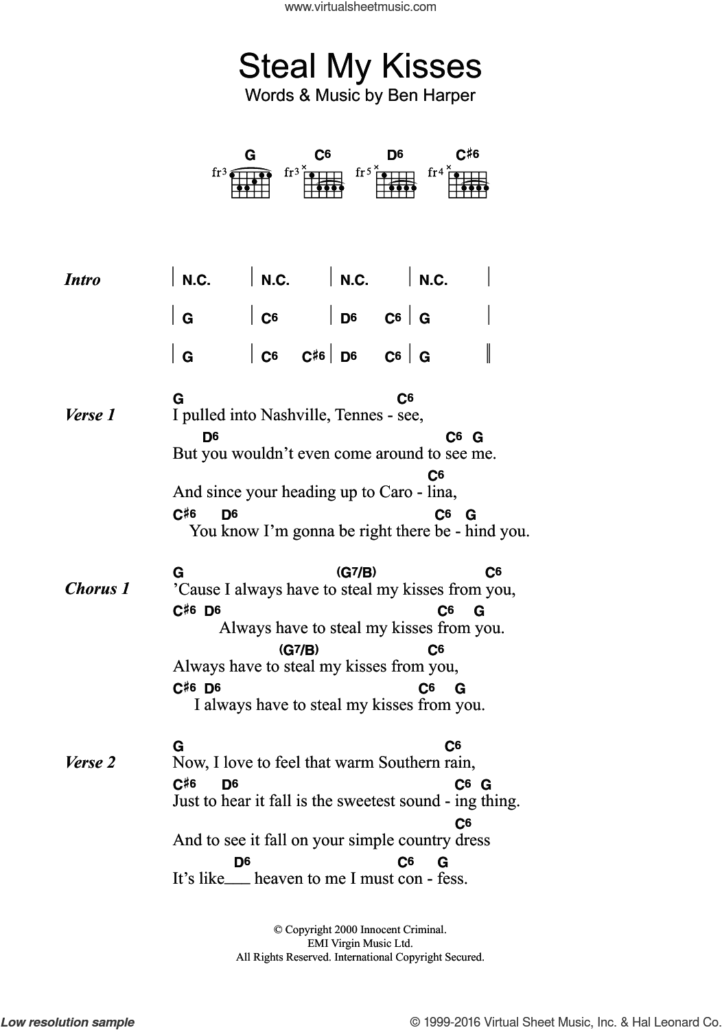 Steal My Kisses sheet music for guitar (chords) by Ben Harper, intermediate skill level