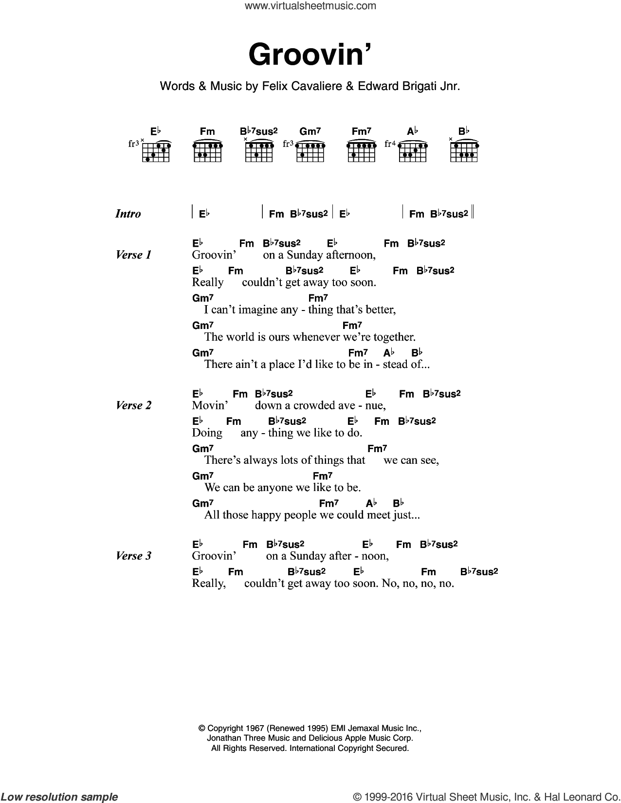 Rascals Groovin Sheet Music For Guitar Chords Pdf