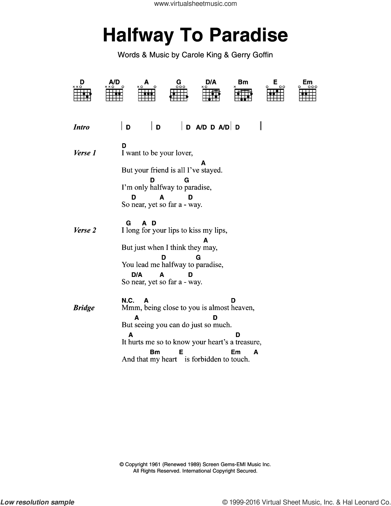 Halfway To Paradise sheet music for guitar (chords) by Billy Fury, Carole King and Gerry Goffin, intermediate skill level