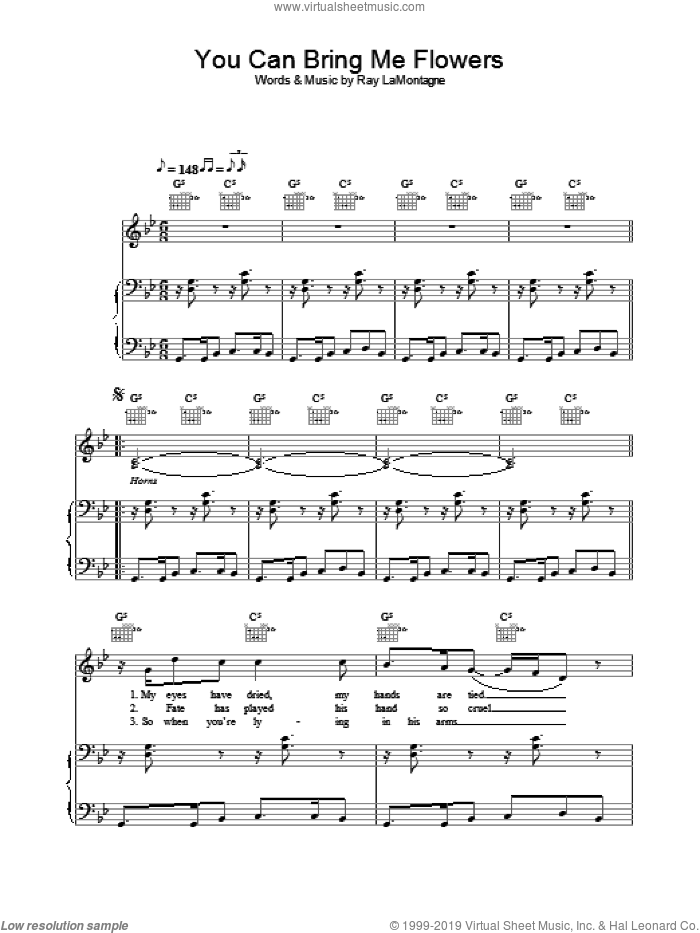 You Can Bring Me Flowers sheet music for voice, piano or guitar by Ray LaMontagne. Score Image Preview.