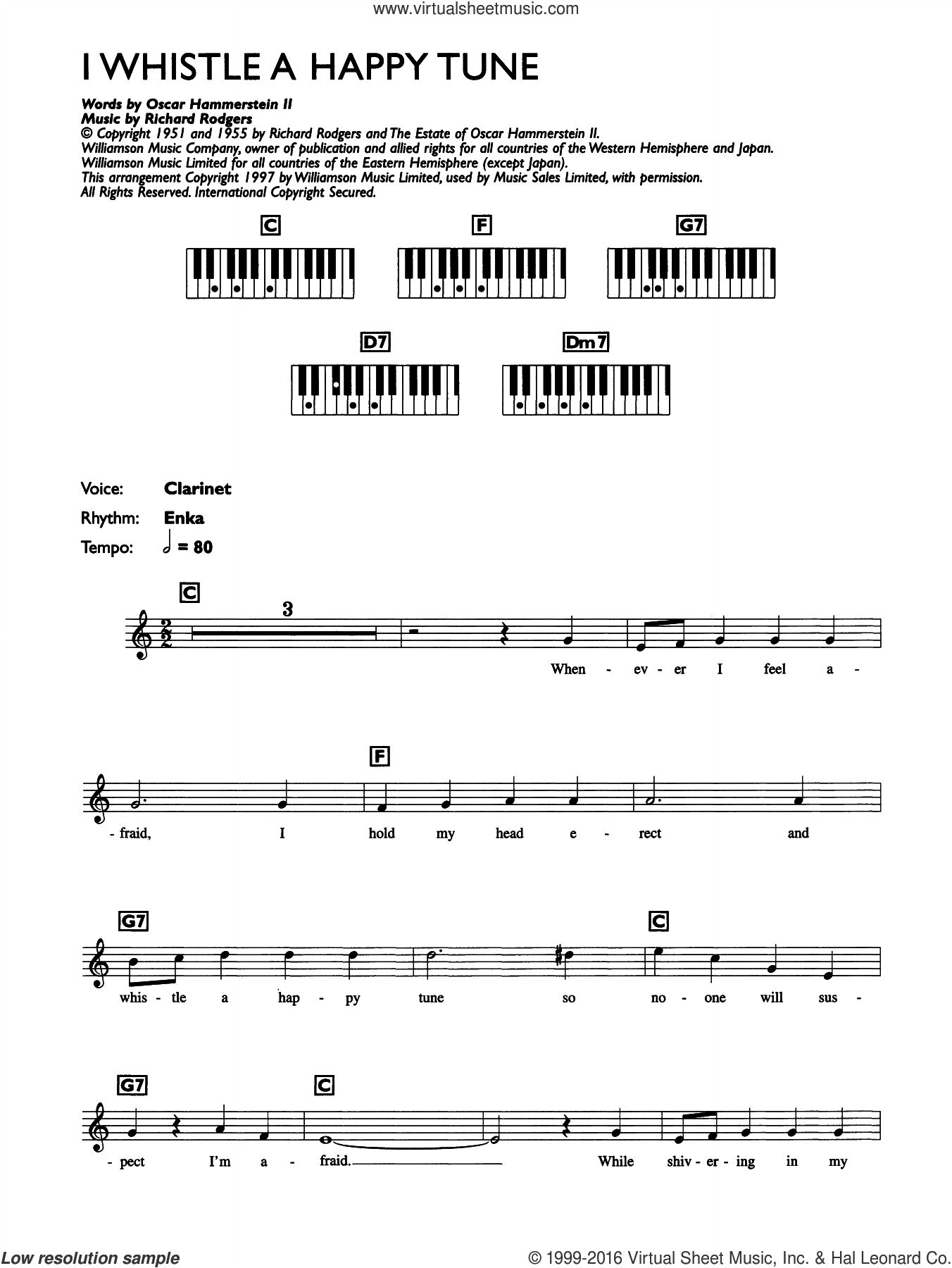 I Whistle A Happy Tune (from The King And I) sheet music for piano solo (chords, lyrics, melody) by Richard Rodgers, Rodgers & Hammerstein and Oscar II Hammerstein. Score Image Preview.