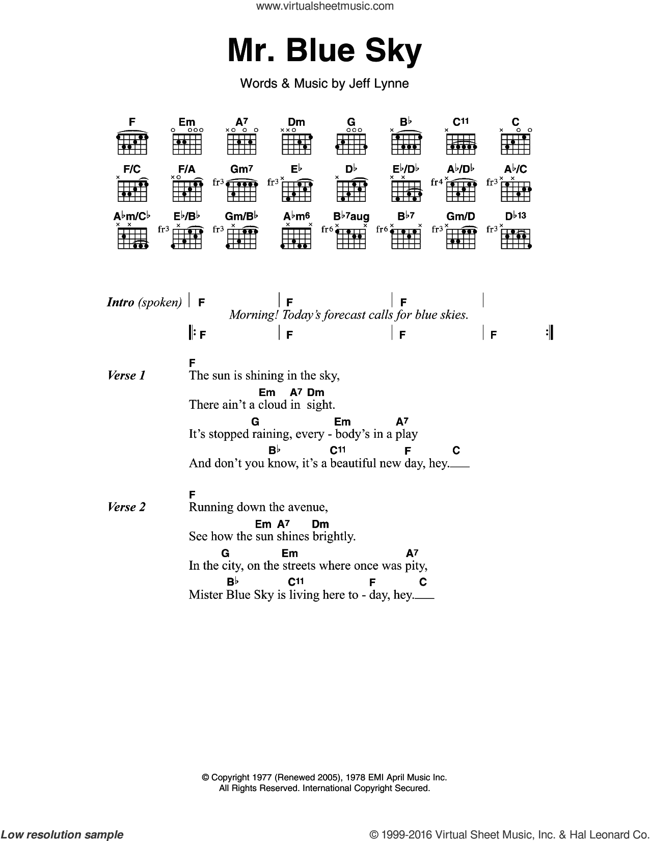 Orchestra Mr Blue Sky Sheet Music For Guitar Chords Pdf
