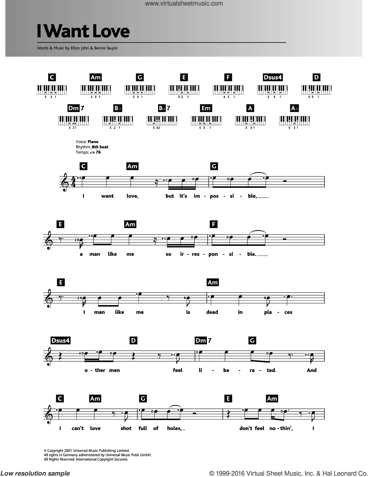I Want Love sheet music for piano solo (chords, lyrics, melody) by Elton John and Bernie Taupin, intermediate piano (chords, lyrics, melody). Score Image Preview.