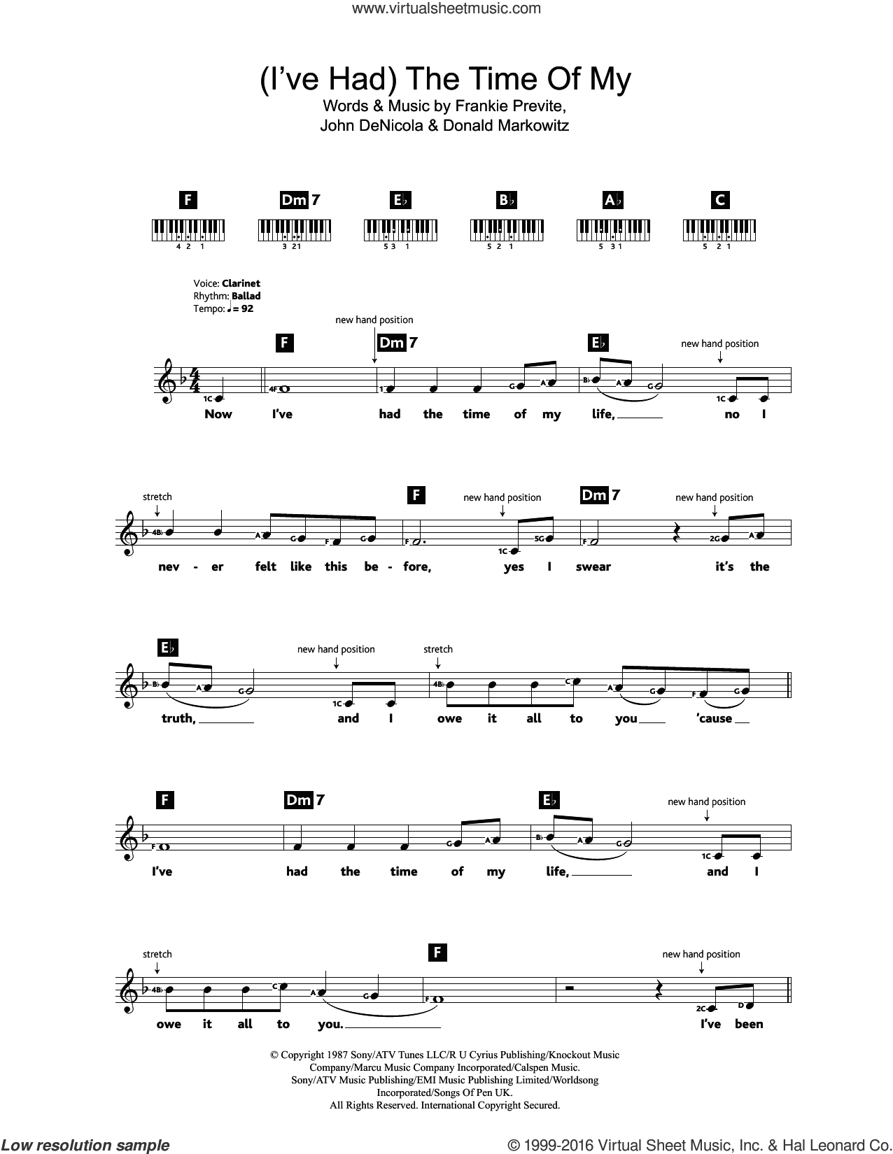 (I've Had) The Time Of My Life sheet music for piano solo (chords, lyrics, melody) by Bill Medley, Jennifer Warnes, Donald Markowitz, Frankie Previte and John DeNicola, intermediate piano (chords, lyrics, melody)