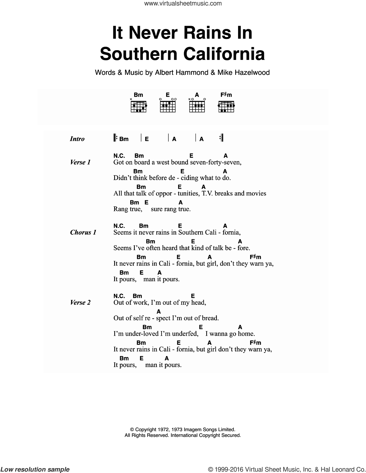 It Never Rains In Southern California sheet music for guitar (chords) by Michael Hazelwood and Albert Hammond. Score Image Preview.