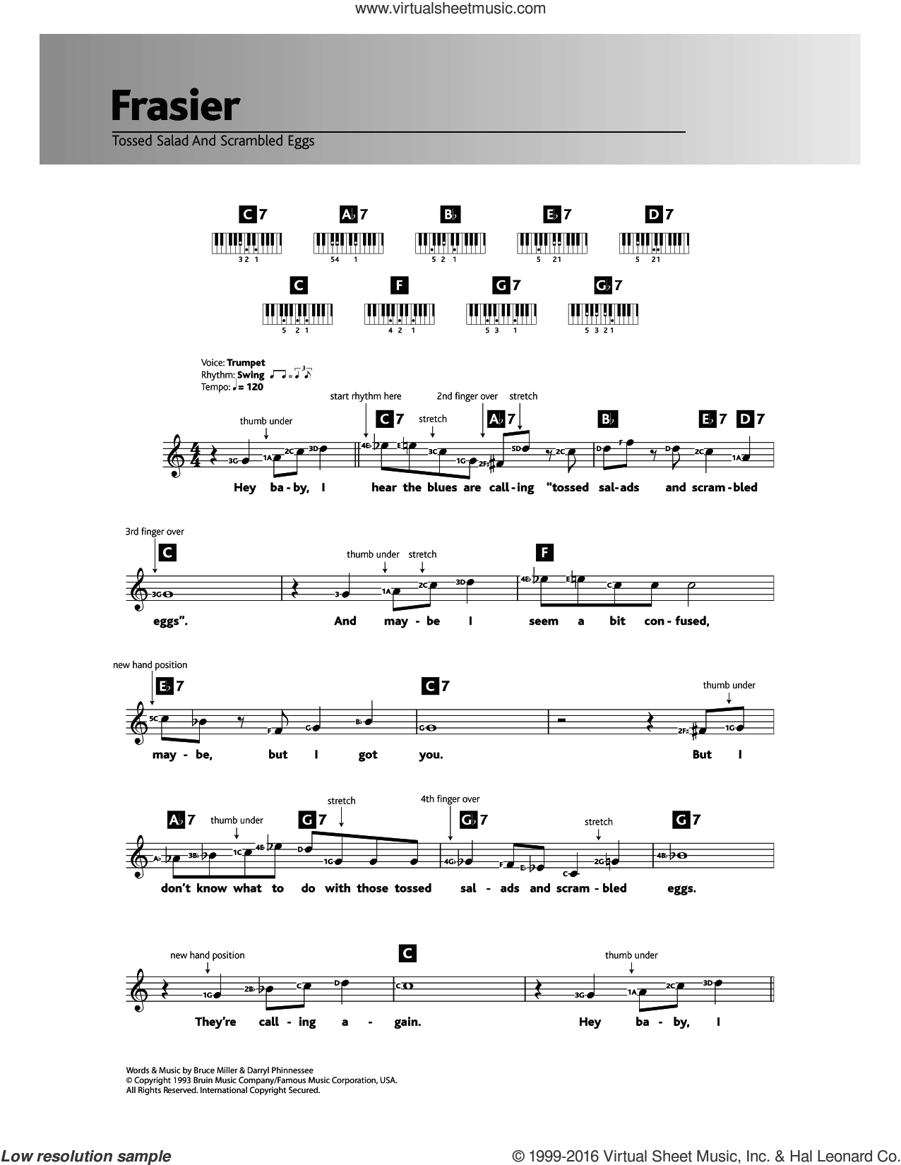 Tossed Salad And Scrambled Eggs (Theme from Frasier) sheet music for piano solo (chords, lyrics, melody) by Bruce Miller and Darryl Phinnessee, intermediate piano (chords, lyrics, melody)