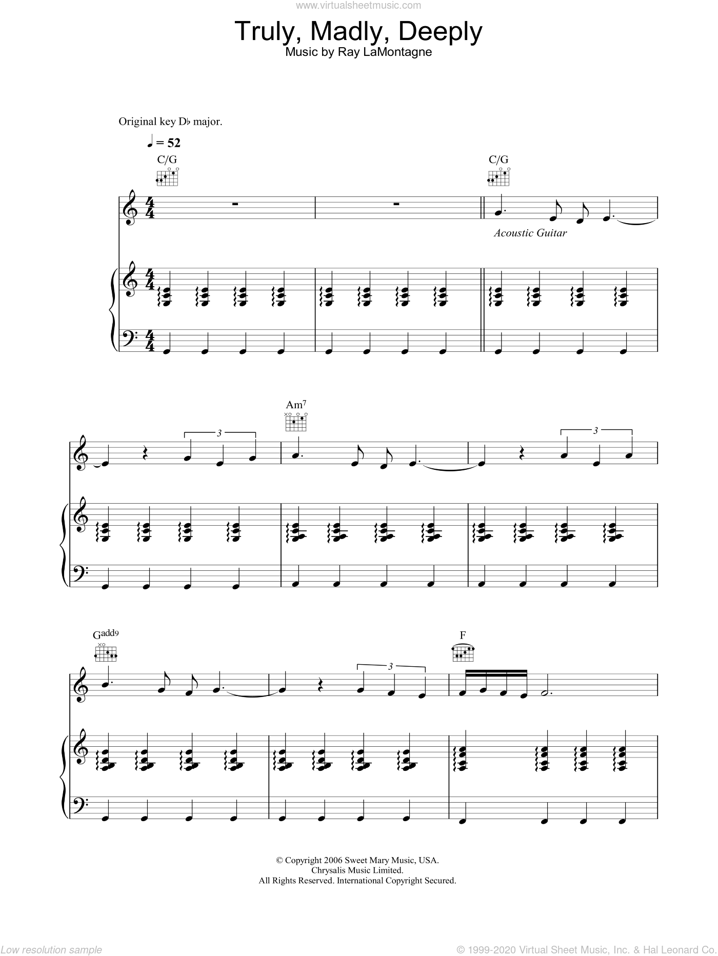Truly, Madly, Deeply sheet music for voice, piano or guitar by Ray LaMontagne. Score Image Preview.