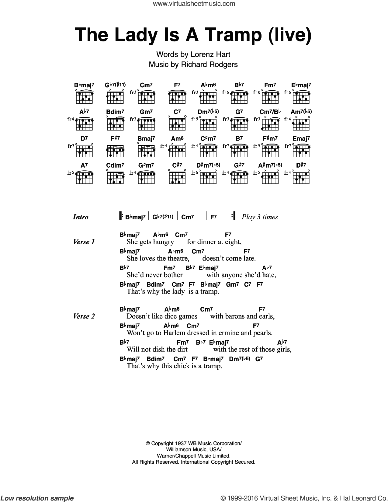 Sinatra The Lady Is A Tramp Sheet Music For Guitar Chords