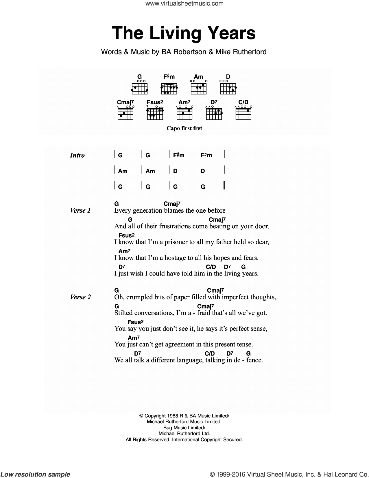 The Living Years sheet music for guitar (chords) by Mike Rutherford, Mike and The Mechanics and B.A. Robertson. Score Image Preview.