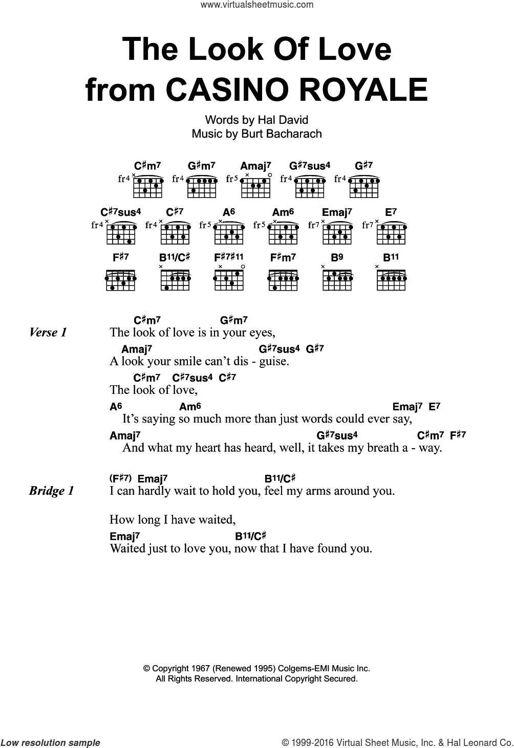 The Look Of Love sheet music for guitar (chords) by Dusty Springfield, Diana Krall, Burt Bacharach and Hal David, intermediate skill level