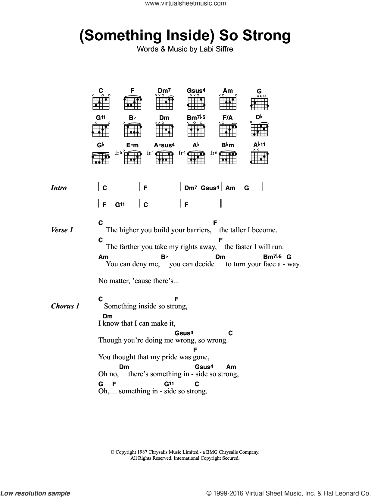 (Something Inside) So Strong sheet music for guitar (chords) by Labi Siffre. Score Image Preview.