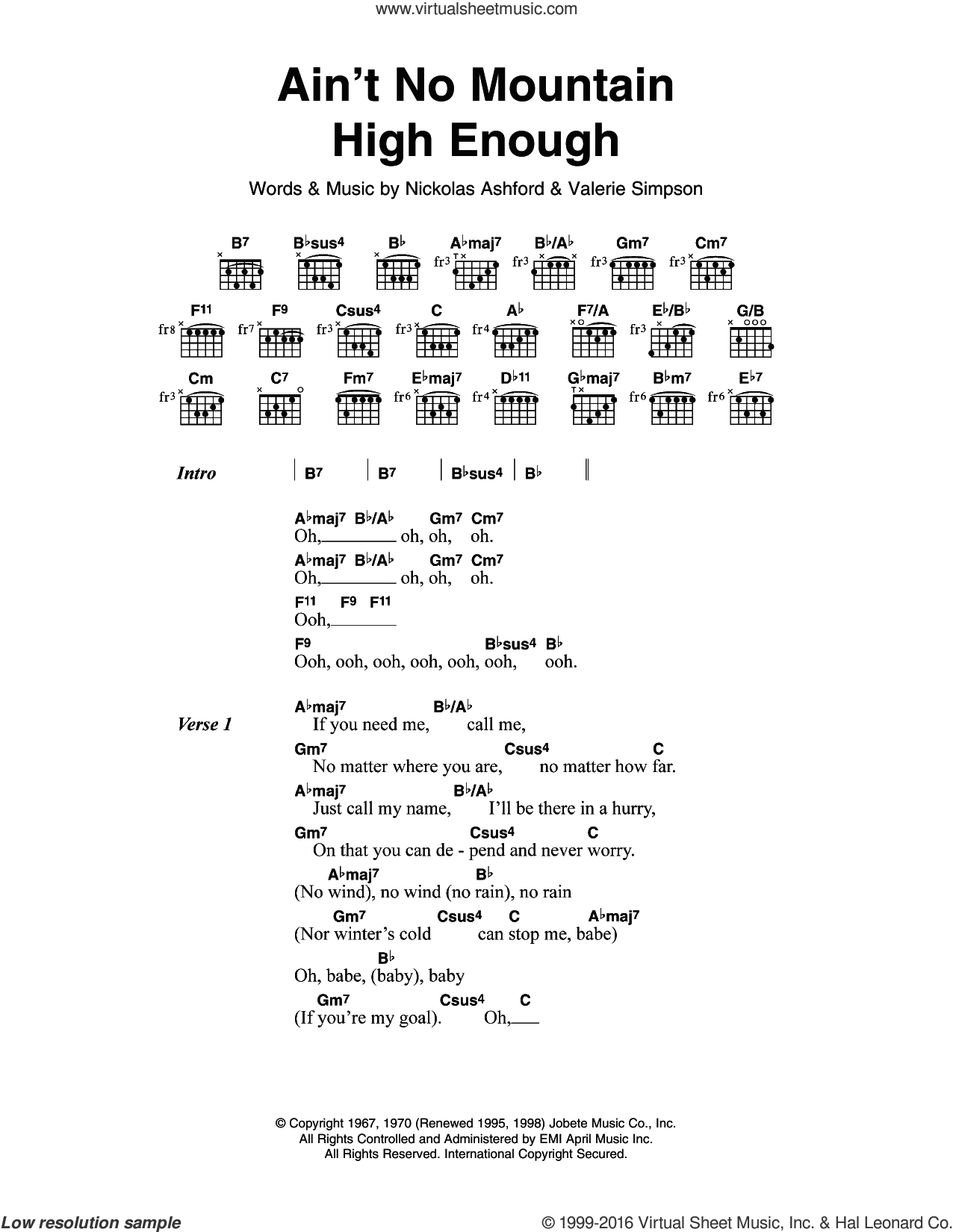 Ross Aint No Mountain High Enough Sheet Music For Guitar Chords