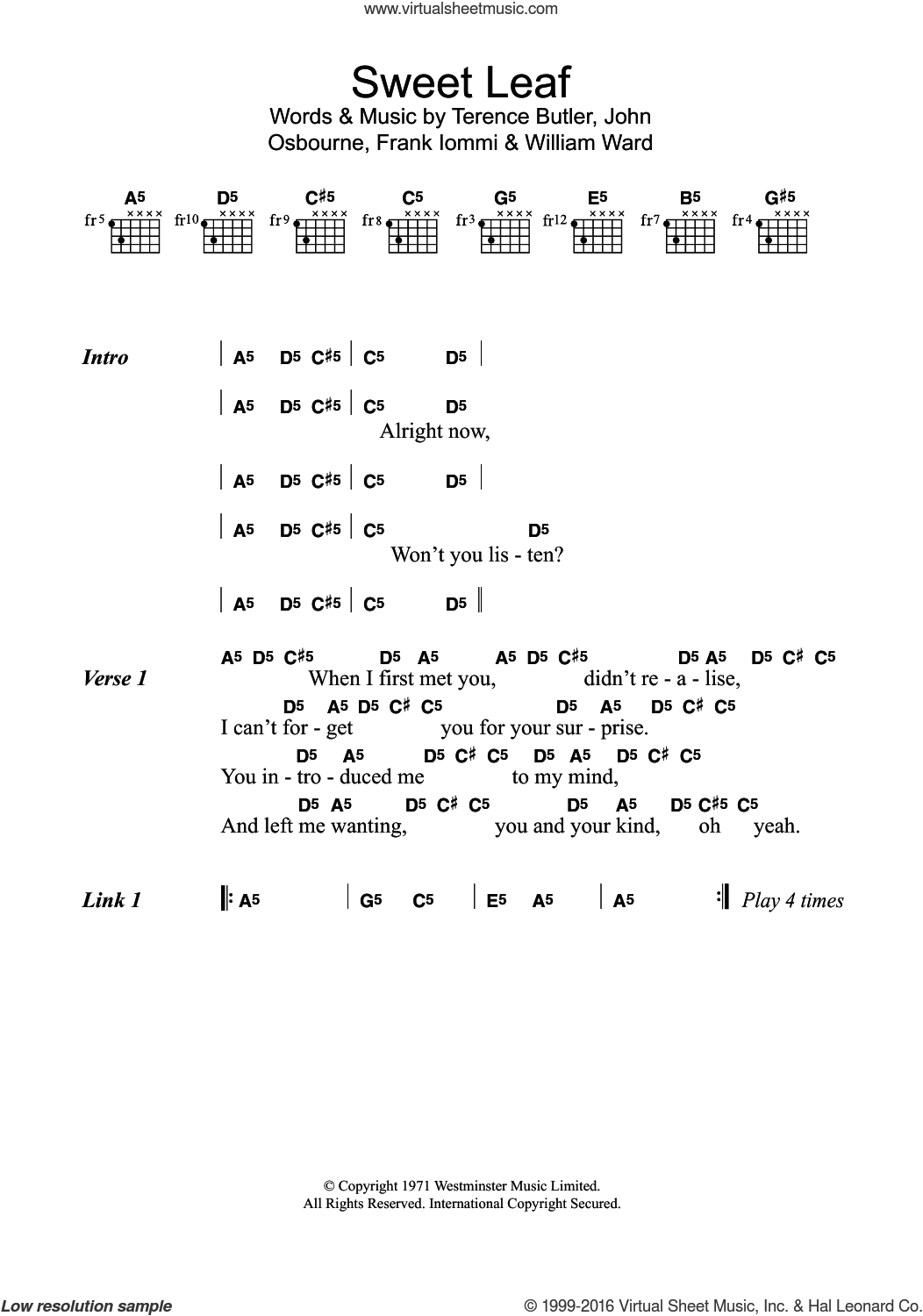 Sweet Leaf sheet music for guitar (chords) by William Ward, Black Sabbath and Tony Iommi. Score Image Preview.