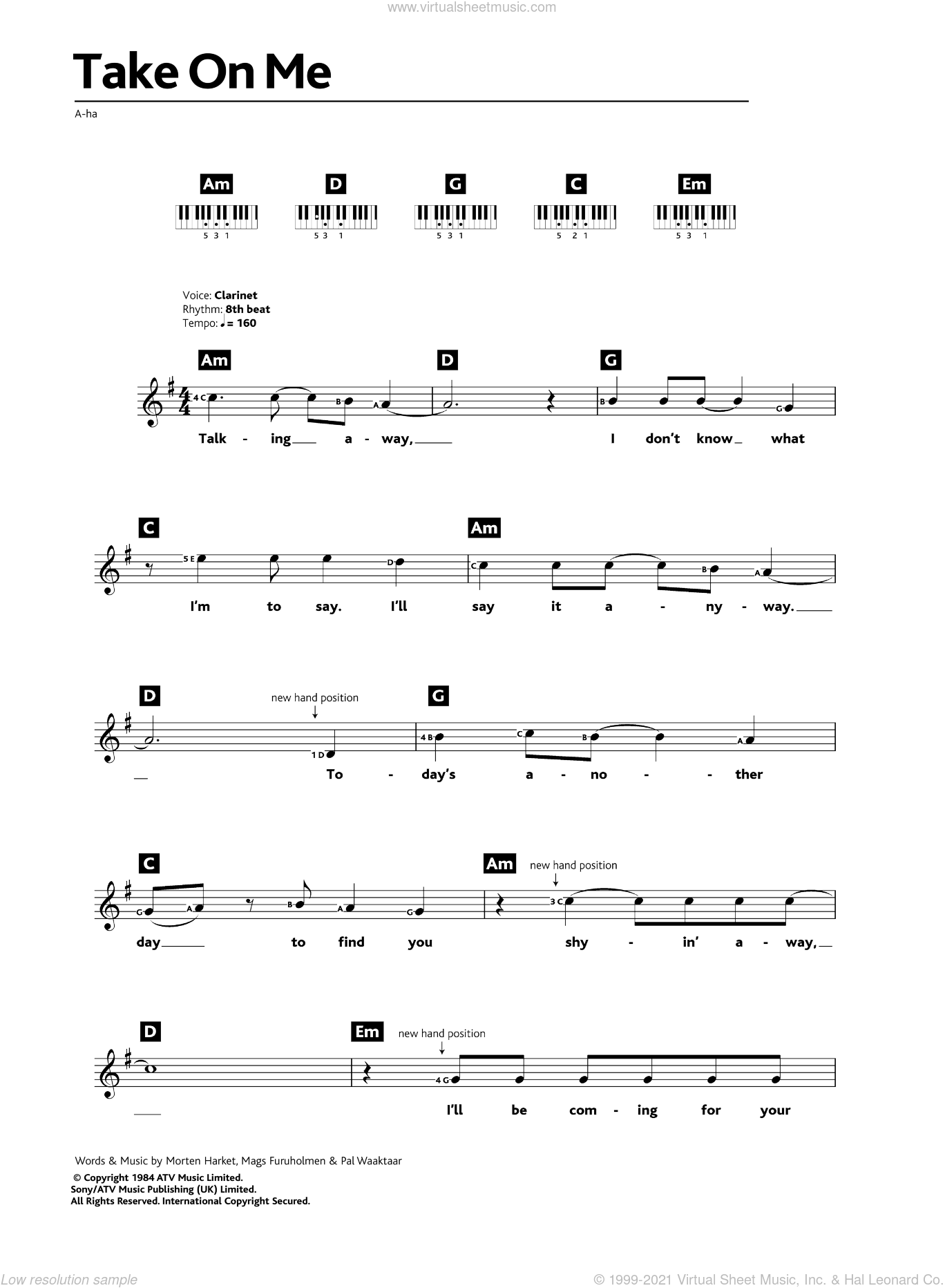Take On Me sheet music for piano solo (chords, lyrics, melody) by a-ha, Mags Furuholmen, Morten Harket and Pal Waaktaar, intermediate piano (chords, lyrics, melody)