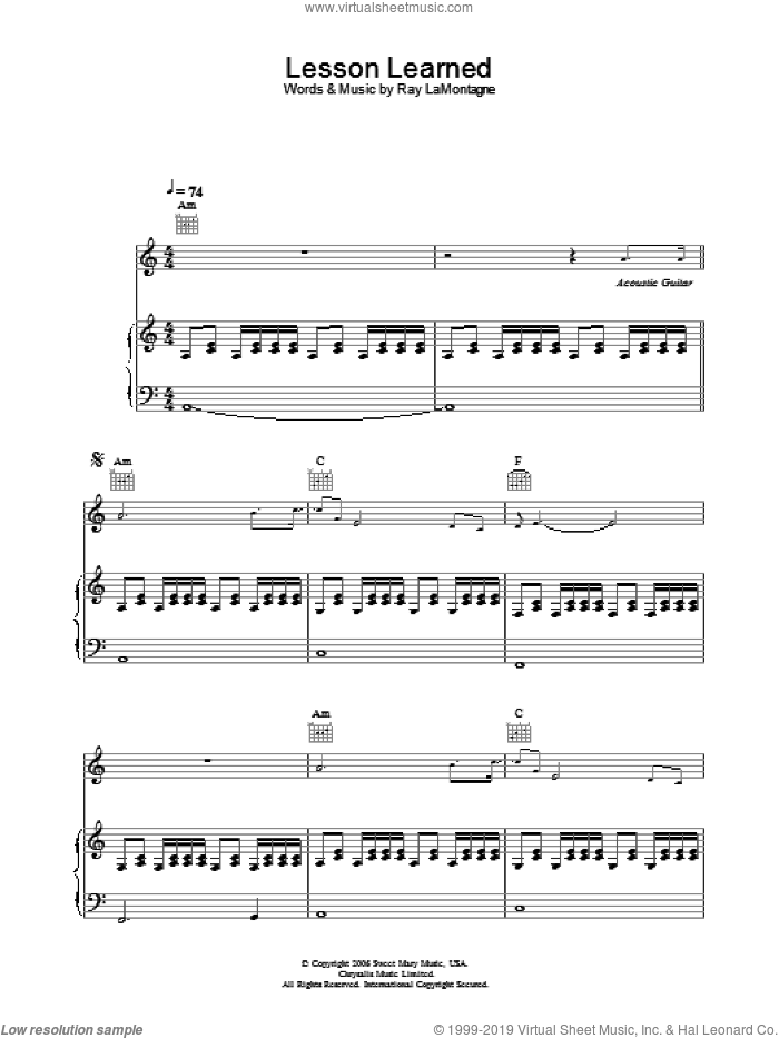 Lesson Learned sheet music for voice, piano or guitar by Ray LaMontagne. Score Image Preview.